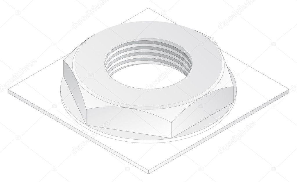 Screw-nut  isometric projection  engineering graphics - Stock    Engineering Graphics Isometric Projection