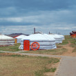 white mongolian yurts in the gobi desert — Stock Photo