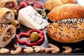 Bread Stuffed Mushroom, Blue Cheese and Pastrami — Stock Photo