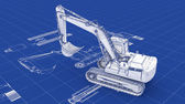 Excavator Blueprint — Stock Photo