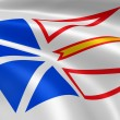 Newfoundland and Labrador flag in the wind - Stock Photo