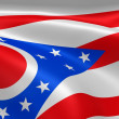 Ohioan flag in the wind - Stock Photo