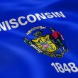 Wisconsinite flag in the wind — Stock Photo