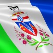 Stock Photo: Yukoner flag in wind