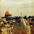 Texture stylized antique postcard of Jerusalem — Stock Photo