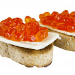 Red caviar sandwiches isolated — Stock Photo