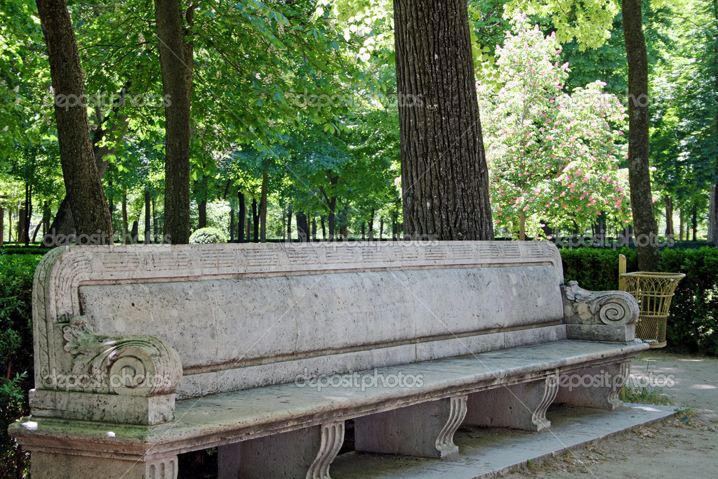 Stone bench in the old park of Royal Palace in Aranjuez (Madrid,Spain)  Stock Photo #11050729