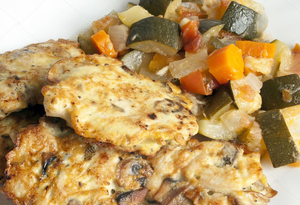 Cutlets of  chicken,mushrooms and eggs with stuffed vegetables — Stock Photo #11116071