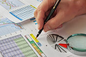 Grafy, tabulky a dokumenty — Stock fotografie