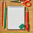 Still life of office supplies with a notebook - Stock Photo