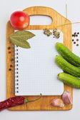 Anteckningsbok med recept — Stockfoto