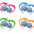 Gears and arrows in the shape of a heart. — Stock Vector