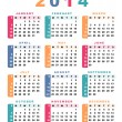 Stock Vector: Calendar 2014 (week starts with sunday).