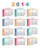 Calendar 2014 (week starts with sunday). — Vector de stock