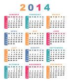 Calendar 2014 (week starts with sunday). — Stock Vector