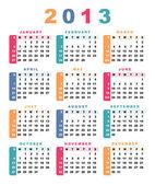 Calendar 2013 (week starts with sunday). — Stock Vector