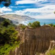 The Cathedrals eroded clay cliff of Gore Bay, NZ — Stock Photo