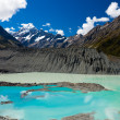 Stock Photo: Emerald glacier lake in Aoraki Mt Cook NP