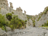Badlands hoodoos of Putangirua Pinnacles, NZ — Stock Photo
