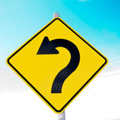 Arrow on roadsign pointing left for betterment — Stock Photo