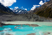 Emerald glacier lake in Aoraki Mt Cook NP — Stock Photo