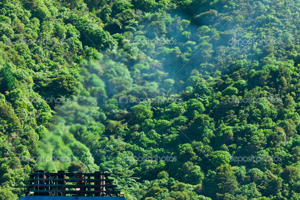 Greenhouse gas atmospheric pollution concept of blue smoke discharged from chimney in front of lush green natural forest background — Stock Photo #10767324