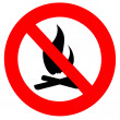 Round fire ban sign symbol isolated on white - Stock Photo