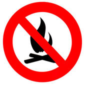 Round fire ban sign symbol isolated on white — Stock Photo