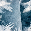 Cracked ice surface and hoar-frost ice crystals — Stock Photo