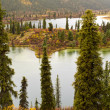 Stock Photo: Fall rain on wilderness lake, Yukon T., Canada