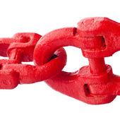 Big painted red chain links isolated on white — Stock Photo