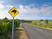 Attention Kiwi Crossing Roadsign at NZ rural road — Stock Photo