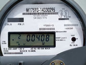 LCD display of smart grid power supply meter — Photo