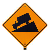 Steep grade hill ahead warning road sign on white — Stock Photo