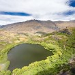 Green oasis in dry highlands of Central Otago, NZ — Stock Photo