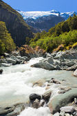 Runoff from Rob Roy Glacier in Mt Aspiring NP, NZ — Stock Photo