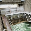 Foto de Stock  : Hydro dam control weir with underneath discharge