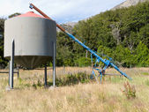 Agricultural metal fodder fermenting silo storage — Stock Photo