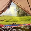 Campsite nature view from inside a tent — Stock Photo #11587173