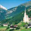 Stock Photo: Town of Heiligenblut and Grossglockner in Austria