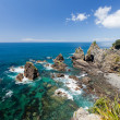 Stock Photo: Steep Coastal Cliff Landscape with green clear ocean water