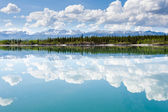 Yukon wilderness cloudscape reflected on calm lake — Stock Photo