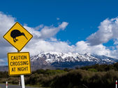 Kiwi Crossing road sign and volcano Ruapehu in NZ — Stock Photo