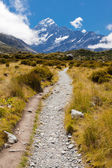 Hooker Valley with Aoraki Mt Cook Southern Alps NZ — Zdjęcie stockowe