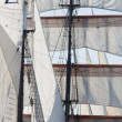 Barquentine yacht sails and rigging background - Stock Photo