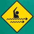 Rip current hazard symbol warning sign on green — 图库照片