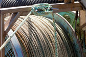 Closeup of drum of old worn hemp rope coils — Stock Photo