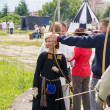 Stock Photo: KALININGRAD, RUSSI- JUNE 17, 2012, marcher shoots on knight