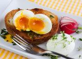 Vařené vejce a toast — Stock fotografie