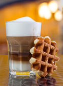 Cafe Coffee - Latte Cappuccino in a tall glass — Stock Photo